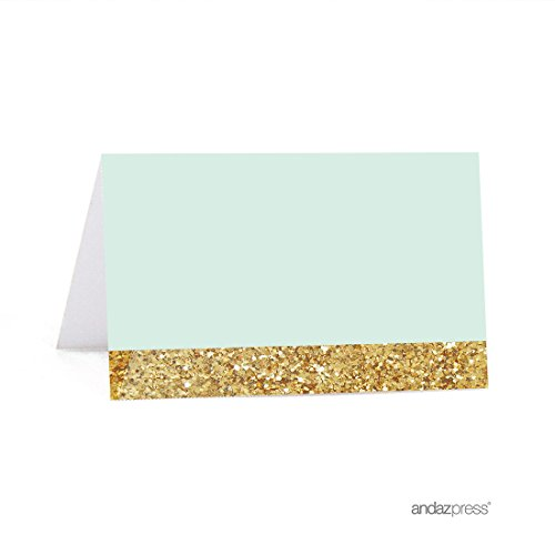 Andaz Press Mint Green Gold Glitter Print Wedding Collection, Printable Table Tent Place Cards, 20-Pack