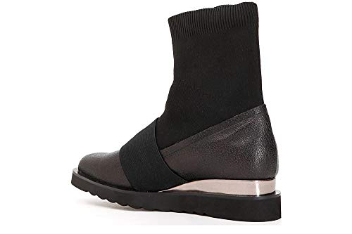 010 Laminate Ankle Nero Cafè Socks Zeppa Boot Noir with and Shoe JEC913 qTZvEwX