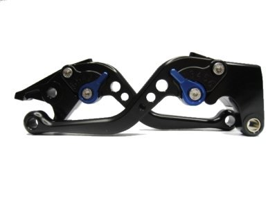 POWTEC PTBU-230 Adjustable short Brake and Clutch Levers for YAMAHA YZF R6 2005 2006 2007 2008 2009 2010 2011 2012 2013 2014 2015 2016-BLACK WITH BLUE