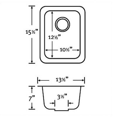 Swanstone US01513SB.012 Solid Surface Undermount Single-Bowl Kitchen Sink, 13.5-in L X 15.5-in H X 6.5-in H, Night ()