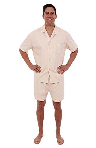 (Alexander Del Rossa Mens Cotton Pajamas, Short Button-Down Woven Pj Set, Large Taupe Cream (A0697TPELG))