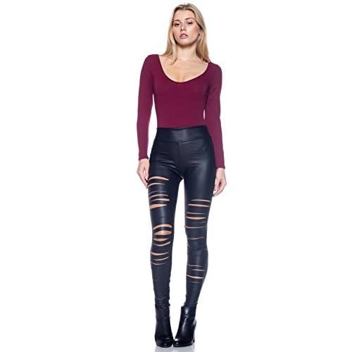 Cemi Ceri Women's J2 Love Faux Leather Ripped Legging