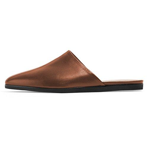 4 Heel Comfortable US Brown Sandals Shoes Low Casual Size Women Mules FSJ Toe Flats 15 Round Walking CfqqO0w