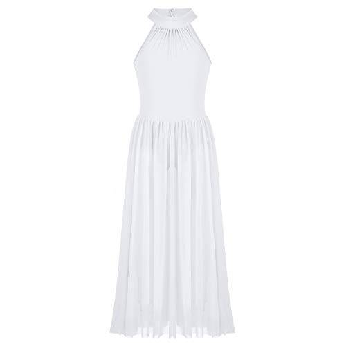 Alvivi Big Girls Mock-Neck Leotard Lyrical Dance Dress Sheer Modern Contemporary Costumes White 7-8