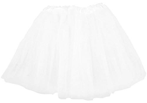 [Simplicity Women's Classic Elastic, 3-Layered Tulle Tutu Skirt, White, One Size] (White Fairy Costumes)