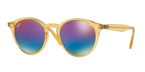 Ray-Ban Men's RB2180F Sunglasses Shiny Yellow / Green Mirror Blue Gradient Vio - Yellow Ban Ray