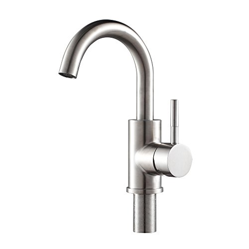 Sarlai Modern Best Commercial Brushed Nickel Stainless Steel Single Handle Kitchen Bar/Prep Sink Faucet, Hot and Cold Single Lever Kitchen Faucets (Faucet Mount Bar)