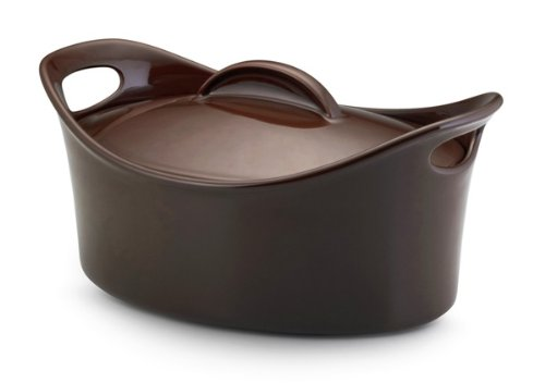 Rachael Ray Stoneware 4-Quart Covered Bubble and Brown Casseroval Casserole, Chocolate by Rachael Ray