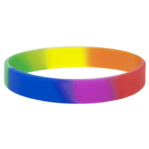 GOGO 10 Dozen Silicone Wristbands, Adult-Size Rubber Bracelets, Great for Event-Rainbow