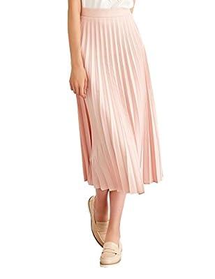 Simple Retro Women's High Waist Basic Pleated A-line Midi Skirt