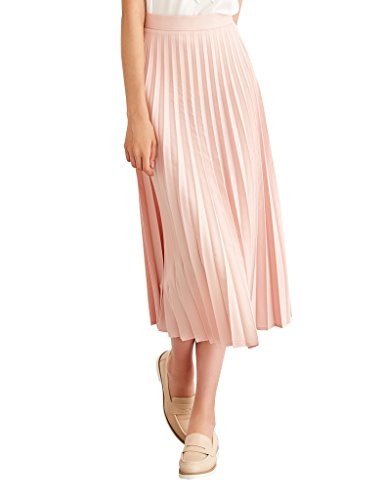 Simple Retro Women's High Waist Basic Pleated A-line Midi Skirt