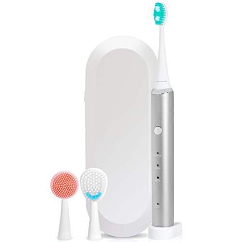7TECH Sonic Electric Toothbrush, 3 in 1 Rechargeable Toothbrush for Complete Oral Care, With Charging Travel Case, 3 Modes, and 3 Brush Heads