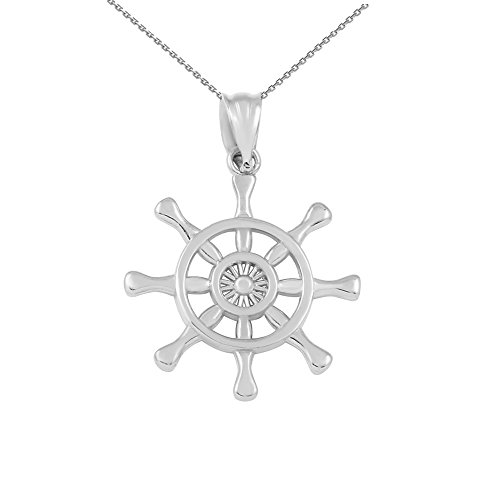 10k White Gold Nautical Ship Steering Wheel Pendant Necklace, - Gold Wheel Ships