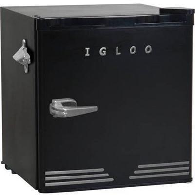 Igloo FR176-BLACK 1.6 cu. ft. Retro Bar Fridge with Side Bottle Opener, Black