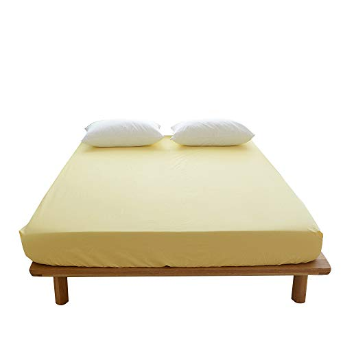 BuLuTu Deep Pocket Fitted Sheet Queen Cotton Solid Yellow-Premium Soft,Breathable,Durable and Comfortable,Single Bed Fitted Sheet Only 1 Piece,NO Pillowcases