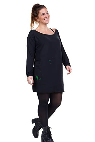 verde 3elfen larga mujer manga bosque negro Vestido de wqR6ZFw8