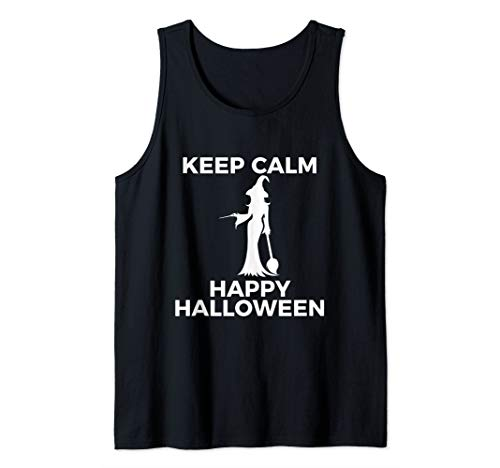 Spectacular Cute Witch Keep Calm Happy Halloween Tank Top (Create Your Own Keep Calm T Shirt)