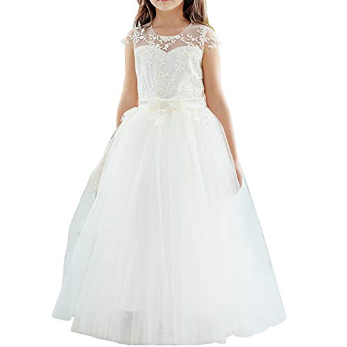 Flower Girls Ivory Lace Bridesmaid Dresses Long A line Tulle Wedding Princess Pageant Party Gown First Communion 2-13Y (Gown Girl Flower Dress)