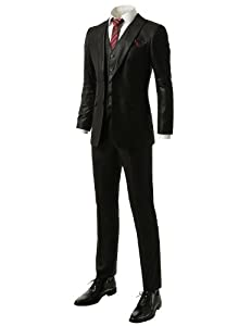 B00IUUYALW IDARBI Mens Slim-Fit Two Button Peacked Lapel Vested Suit