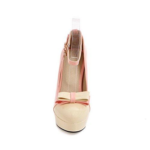 BalaMasa Girls tempestato di strass fibbie metalliche colori assortiti in vernice pumps-shoes, Rosa (Pink), 35 EU
