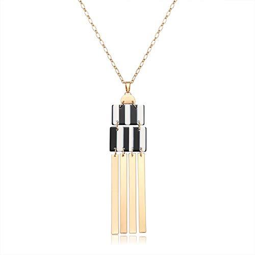 (YINL Geometric Pendant Necklace - Statement GeometricAcrylicRectangle Charm Necklace Gold Metal Bar Tassel Pendant Long Necklace for Women (Black&White))