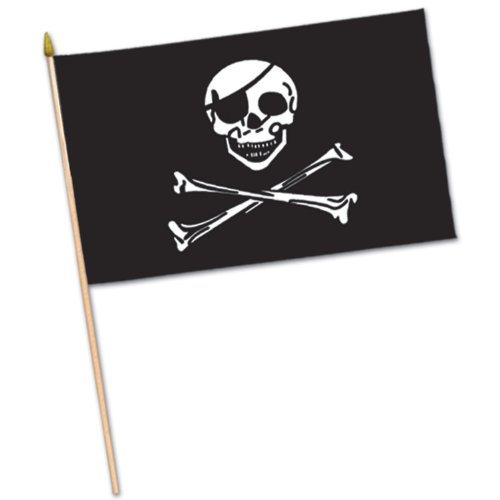 Beistle 50981 12-Pack Rayon Pirate Flag, 4-Inch by 6-Inch
