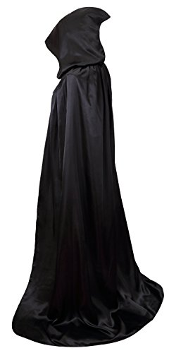 VGLOOK Unisex Hooded Halloween Christmas Cloak Costumes Party Cape (Black)