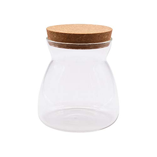 JY Collection Air Tight Storage Jar, Glass Storage Tank with a Natural Bamboo Lid, 450 ML, 500 ML, 650 ML, 700 ML, 950 ML(Cork, 500ml) -