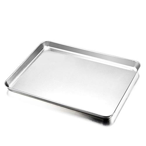 E-far Baking Sheet, Cookie Sheet Baking Tray Pan Stainless Steel Jelly Roll Pan, Non Toxic & Healthy, Rust Free & Mirror Finish, Easy Clean & Dishwasher Safe