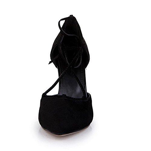 Odomolor Mujeres Sólido Cordones Puntera en Punta Cerrada Tacón de aguja De salón Negro
