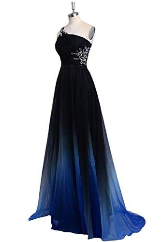 La Couleur De Gradient Des Femmes Perles Une Robes De Bal Du Soir Longue Épaule Bleu