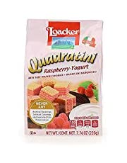 Loacker Quadratini Premium Italian Raspberry-Frozen Yogurt Wafer Cookies, 220g/7.76oz, Raspberry Frozen Yogurt, 220 Grams