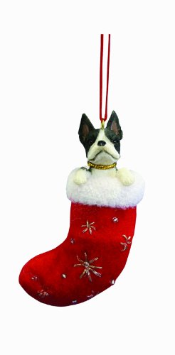 Boston Ornament Christmas Terrier - Boston Terrier Stocking Ornament
