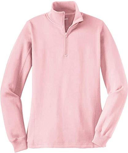 Ladies Zip Sweatshirt - Ladies Athletic 1/4-Zip Sweatshirt in Sizes XS-4XL Light Pink