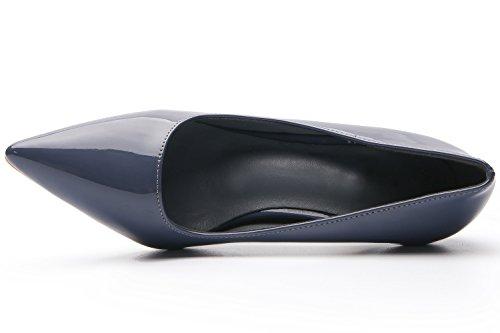 Cómodo Faux De Vestir Trabajo Tacón Zapatos Mujer Stiletto Azul Bigtree Charol qXH006