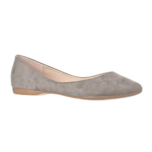 Riverberry Women's Ella Basic Closed Pointed Toe Ballet Flat Slip On Shoe, Grey Suede, 8.5