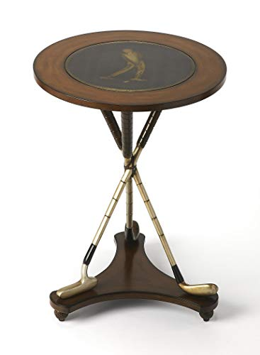 Butler Heritage Multi-Color Round Wood Products, Resin, Brass Nineteenth Hole Round Golf Accent Table ()