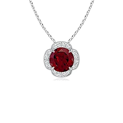 Angara Claw-Set Garnet Clover Pendant with Diamonds JW24g