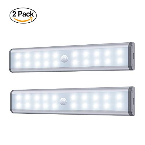 Under Cabinet Lighting, Motion Sensor Closet Lights, 20 LED USB Rechargeable, Magnetic Removable Stick-On Anywhere for Closet/Wardrobe/Drawer/Cupboard (2 Pack)