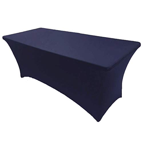 GWHome 4 ft x 2.5 ft Spandex Fitted Stretch Tablecloth Rectangular Table Cover Wedding Banquet Party (Navy Blue, 4 ft x 2.5 ft)