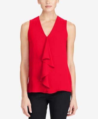 Ralph Lauren $70 Womens New 1258 Red Ruffled Center Sleeveless V Neck Top M B+B