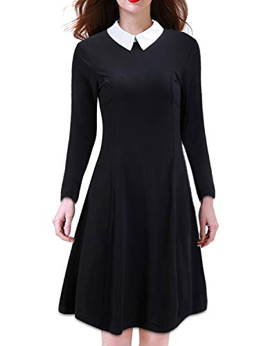 KILIG Women's Long Sleeve Casual Peter Pan Collar Flare Dress(Black, M)