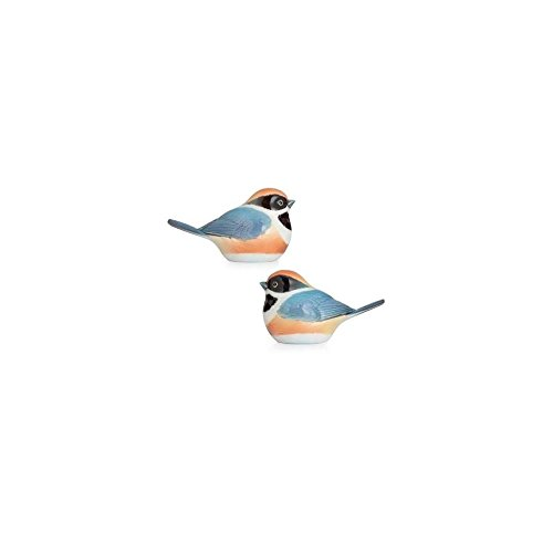 Franz Porcelain Black-throated passerine bird salt & pepper shakers by Franz Porcelain