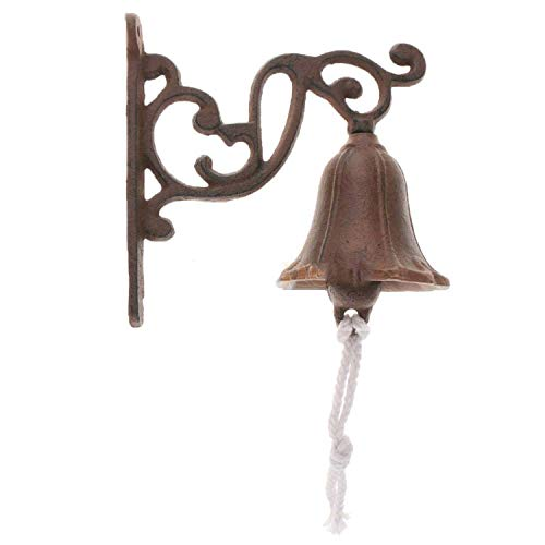 Cast Iron Dinner Bell Simple Wall Mount Metal Door Bell Home Garden Porch Patio Farm Yard Cabin Craft Decoration Retro,B