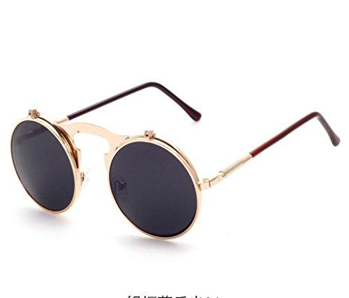 Gris Women Rondes Retro Lunettes Noir métal Vintage de protection de soleil Lunettes Sunglasses Lunette Lunettes Steampunk en Hommes qO1na