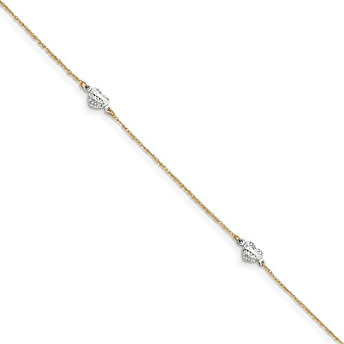 "Mia Diamonds 14k Solid Gold Two-Tone Gold Puff Heart 9in with 1in Ext Anklet Bracelet -10"" (10in x 5mm)"