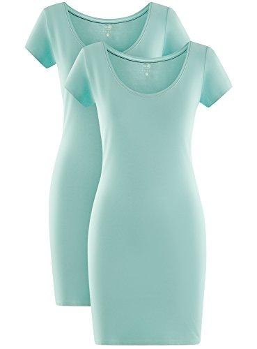 oodji Ultra Mujer Vestido de Punto (Pack de 2) Turquesa (7300N)
