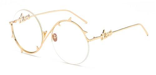 Dormery vintage round sunglasses women men female brand half frame sun glasses for men uv400 blue purple metal as shown in ()
