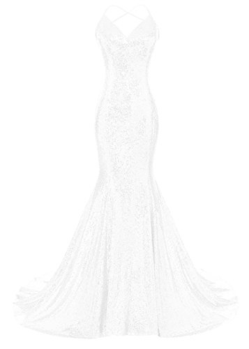 DYS Women's Sequins Mermaid Prom Dress Spaghetti Straps V Neck Backless Gowns White US 4