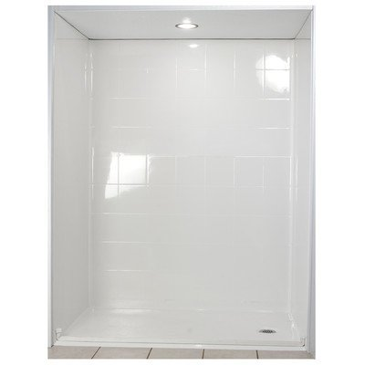 Standard Barrier Free Roll in System 4 Panels Shower Wall Drain Location: Right, Size: 78